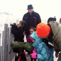 Young birders enjoying their first Snowy Owls. Photo by Carrie Samis.