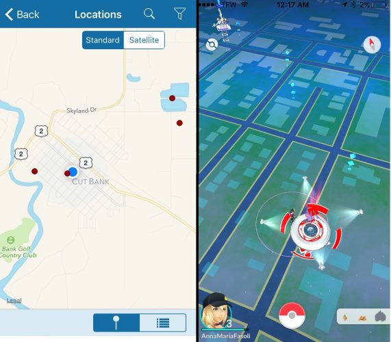 Birding location hotspots on BirdsEeye (left) vs. Pokemon Pokestops