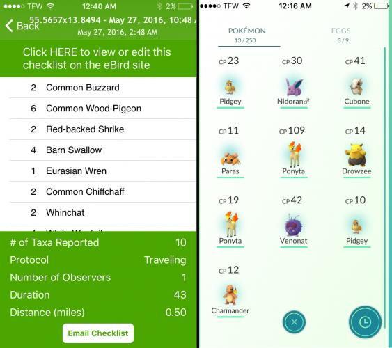 Bird species list/checklist on ebird (left) vs. Pokemon species list on Pokemon Go